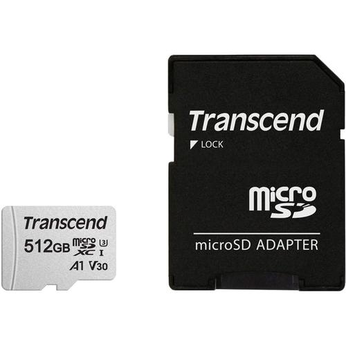 Transcend 512GB 300S V30 A1 Micro SD Card (SDXC) UHS-I U3 + Adapter - 95MB/s