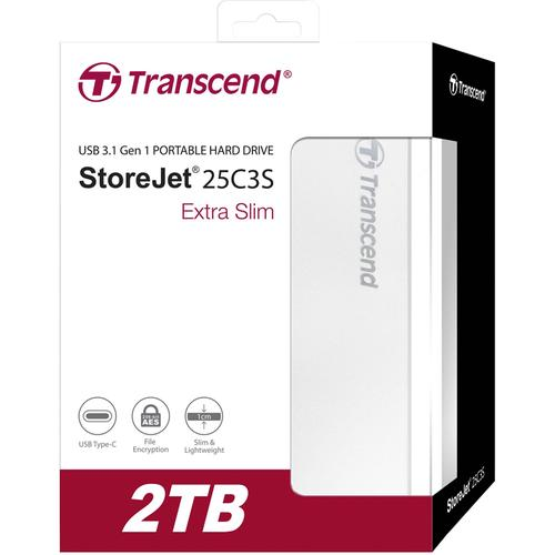 Transcend 2TB StoreJet USB-C Portable Hard Drive (25C3S) - Silver
