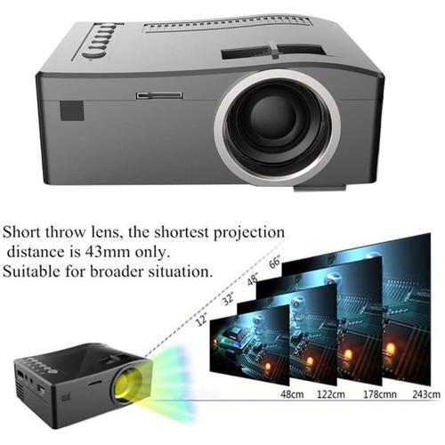 LED Full HD 1080p Mini Projector UC18 USB TF AV HDMI IR - Black