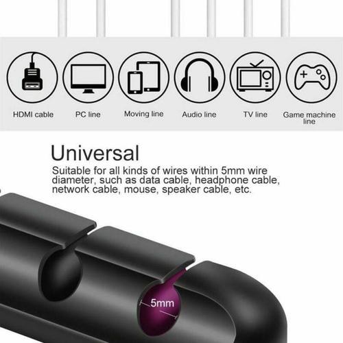 Universal 5-in-1 Adhesive Silicone USB Cable Organiser - FFP