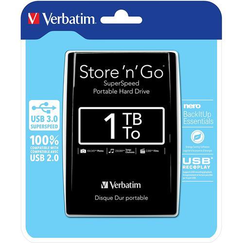 "Verbatim 1TB Store 'n' Go 2.5"" USB 3.0 Portable Hard Drive - Black"