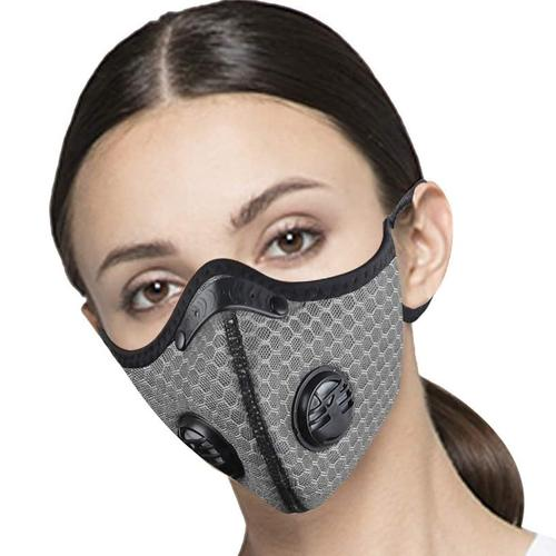 Washable Sports Face Mask - Double Air Valves with PM2.5-F5 Filter - Sky Grey