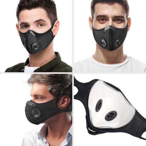 Washable Sports Face Mask - Double Air Valves with PM2.5-F5 Filter - Jet Black