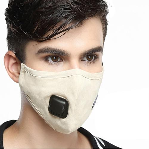 Washable Fashion Face Mask - Single Valve with PM2.5 Filter - Beige