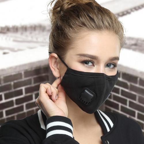 Washable Fashion Face Mask - Single Valve with PM2.5 Filter - Black