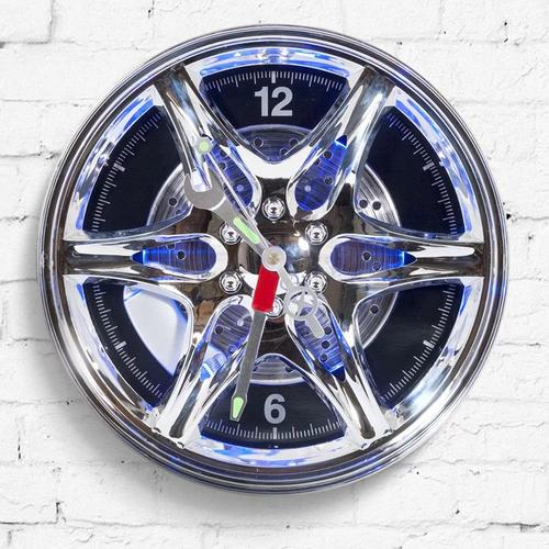 Neon Rim Alloy Wheel Shaped Wall Clock