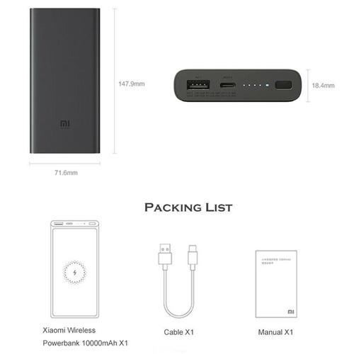 Xiaomi Mi 10000mAh Wireless Qi Power Bank 18W - Schwarz