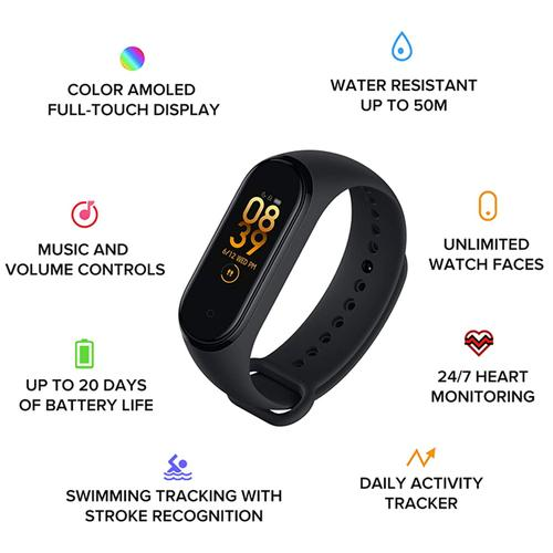 Xiaomi Mi Smart Band 4 Fitness Tracker with Heart Rate Monitor Amoled BT 5.0 - Black