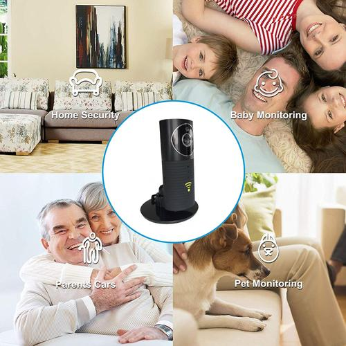 Clever Dog Panorama 180 Degree View HD WiFi Smart Camera - Black