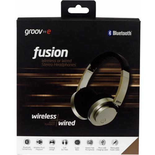 Groov-e Fusion Wireless or Wired Stereo Headphones - Gold