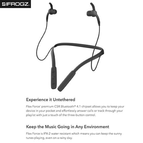 iFrogz Flex Force 2 Wireless Neckband Earbuds - Black