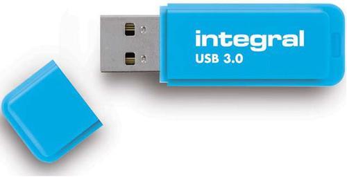 Integral 64GB Neon USB 3.0 Flash Drive - 25MB/s - Blue