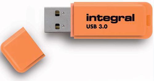 Integral 64GB Neon USB 3.0 Flash Drive - 85MB/s - Orange