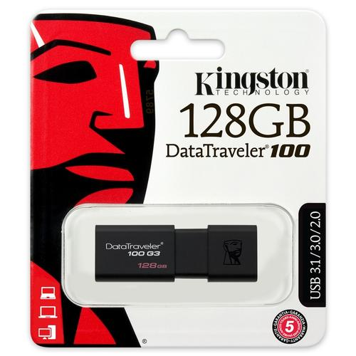 Kingston 128GB DataTraveler 100 G3 USB 3.1 Flash Drive - 130MB/s