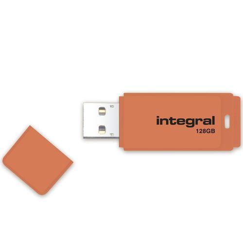 Integral 128GB Neon USB Flash Drive - 12MB/s - Orange