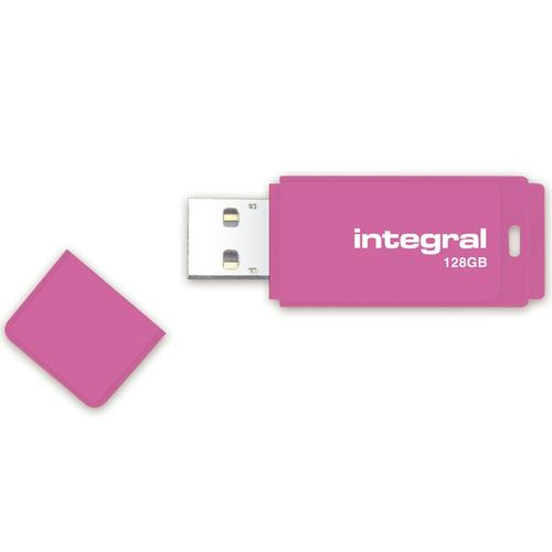 Integral 128GB Neon USB Flash Drive - 12MB/s - Pink