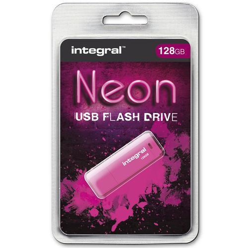 Integral 128GB Neon USB Flash Drive - 12Mb/s - Pink