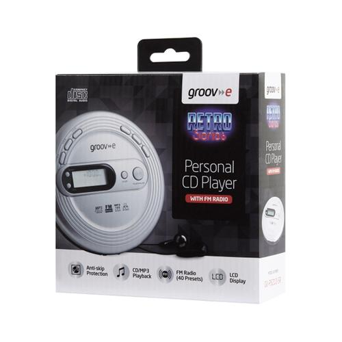 Groov-e Retro Series Personal CD Player with Radio - Silver