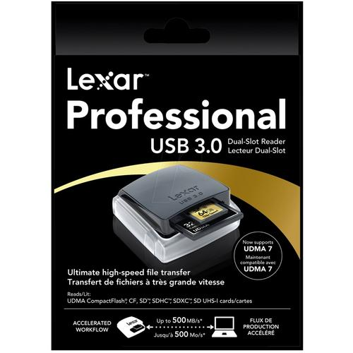 Lexar Professional USB 3.0 Dual Slot Card Reader - 500MB/s