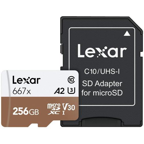 Lexar 256GB Professional 667x Micro SD Card (SDXC) A2 UHS-I U3 + Adapter - 100MB/s