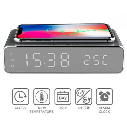 oneo 3-in-1 Digital Alarm Clock with Thermometer & Wireless Charger - Black