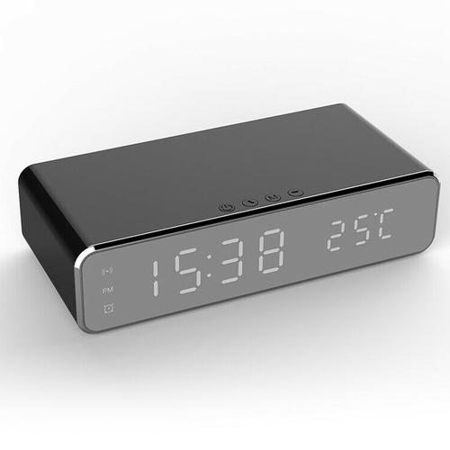 oneo 3-in-1 Digital Alarm Clock with Thermometer & 5W Wireless Charger - Black