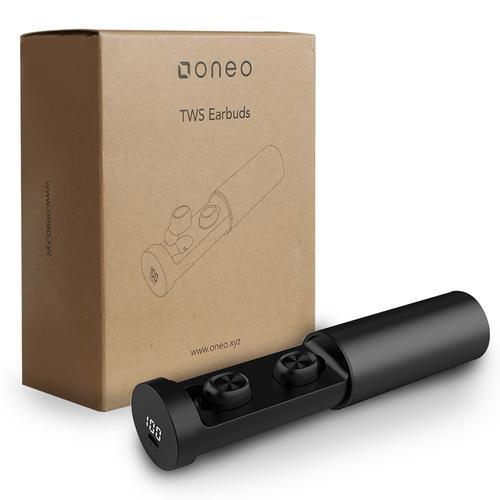 oneo TWS Bluetooth 5.0 Funkkopfhörer mit Ladecase + LED-Anzeige - Schwarz
