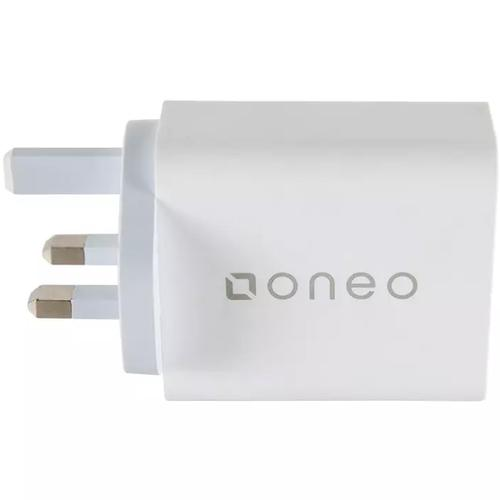 oneo 3A 45W Dual Port USB/USB-C Quick Charge 3.0 Mains Charger - White