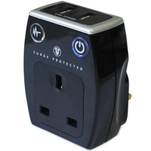 Masterplug USB Charger with Plug Through Surge Socket + 2 x 3.1A USB Ports - Black