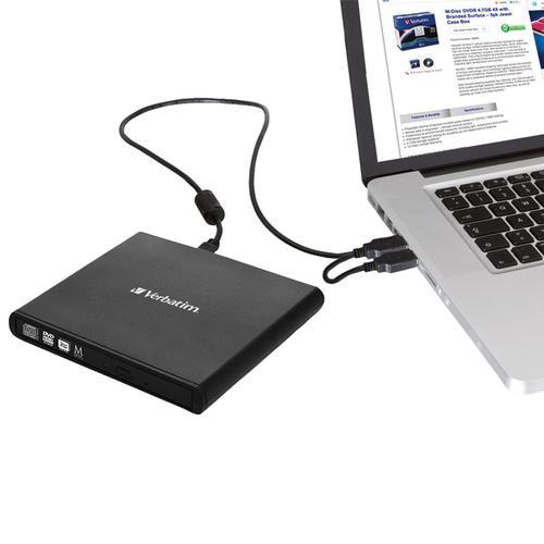 Verbatim External Slimline USB CD / DVD Writer - Black