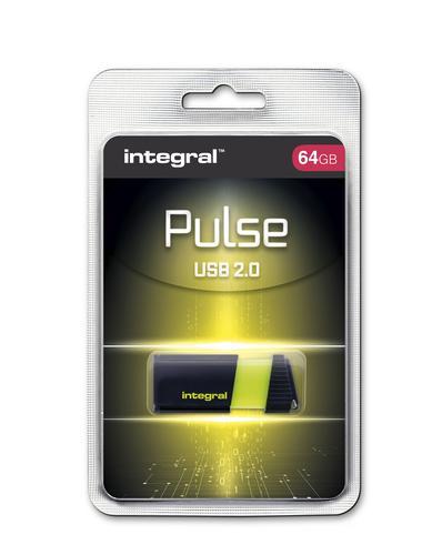 Integral 64GB Pulse USB Flash Drive - Yellow