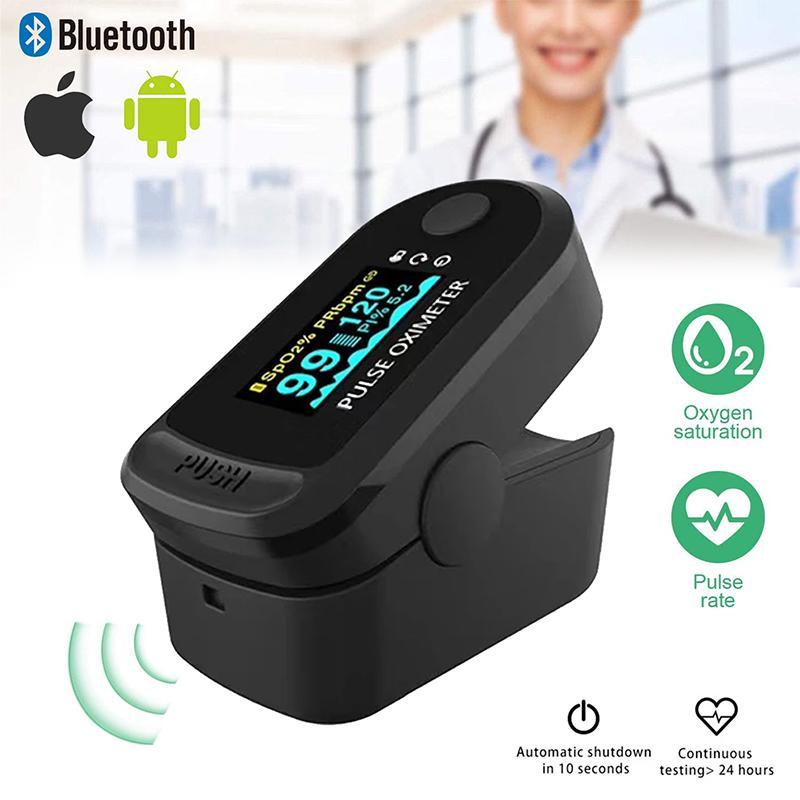 Bluetooth Finger Clip Pulse Oximeter & Blood Oxygen Saturation Meter - Black