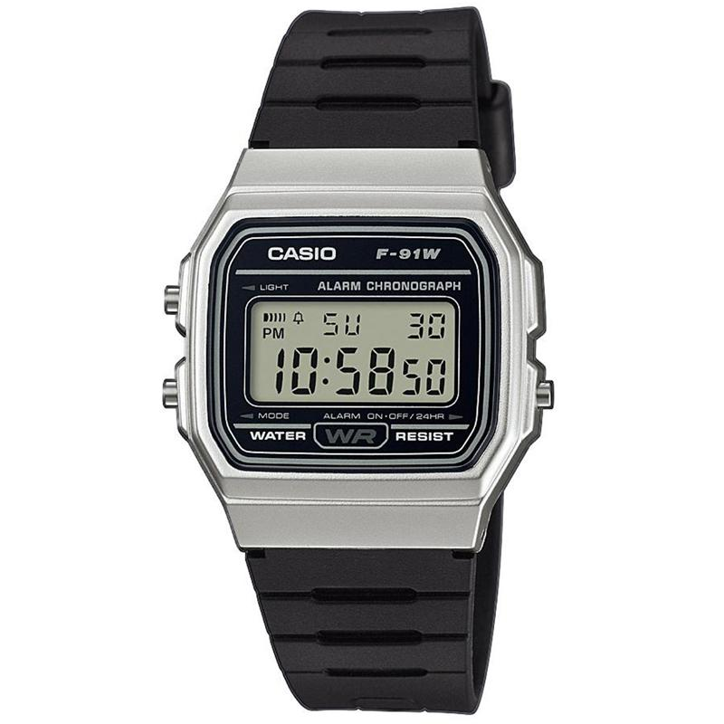 Casio Casual Digital Watch with Black Rubber Strap & Silver Plated Case