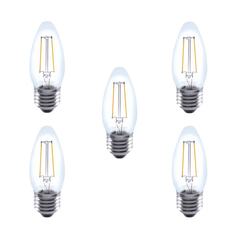 Integral LED Glass Candle Bulb E27 2W (25W) 2700K Non-Dimmable Lamp - 5 Pack