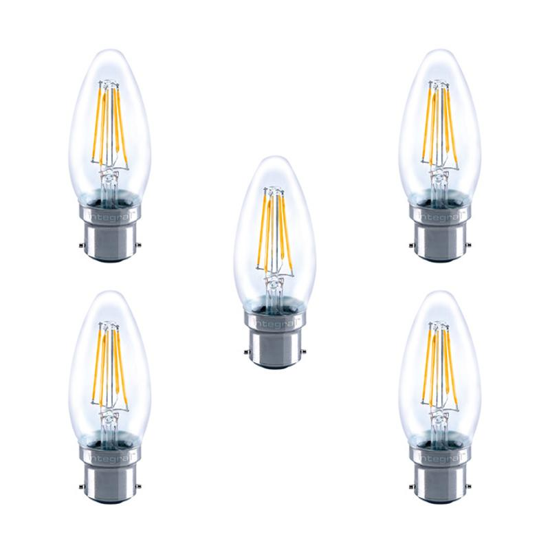 Integral LED Glass Candle Bulb B22 4W (40W) 2700K Non-Dimmable Lamp - 5 Pack