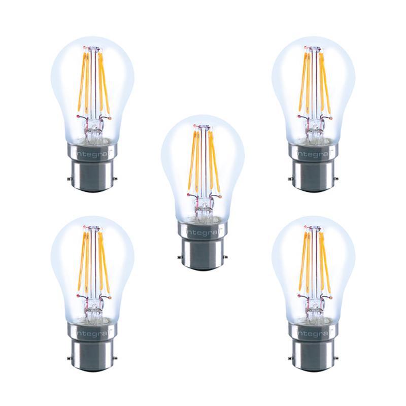 Integral LED Full Glass Mini Globe B22 4.5W (40W) 2700K Dimmable Lamp - 5 Pack