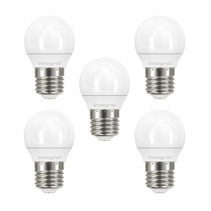 Integral LED Mini Globe E27 3.4W (25W) 2700K Non-Dimmable Frosted Lamp - 5 Pack