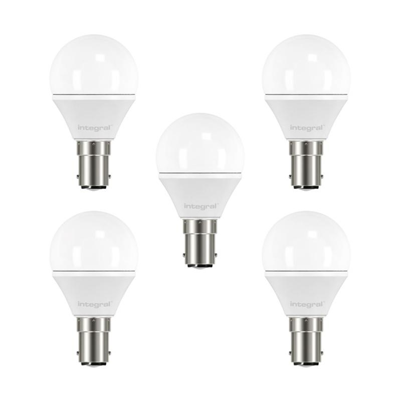Integral LED Mini Globe B15 3.1W (25W) 2700K Non-Dimmable Frosted Lamp - 5 Pack