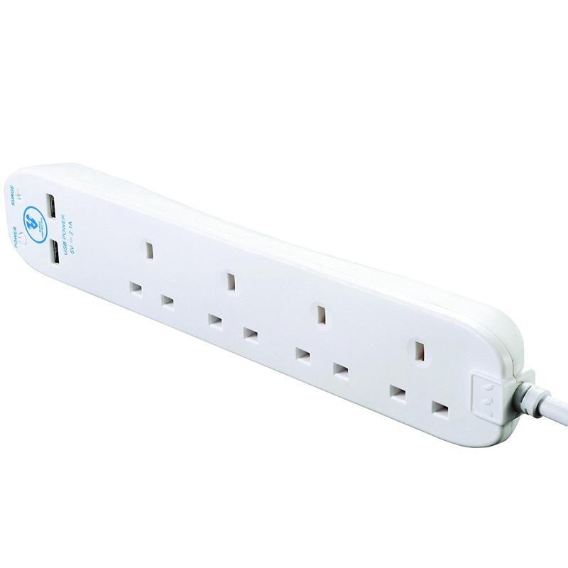 Masterplug Surge Protected 4M - 4 Socket  Extension Lead + 2 USB Port