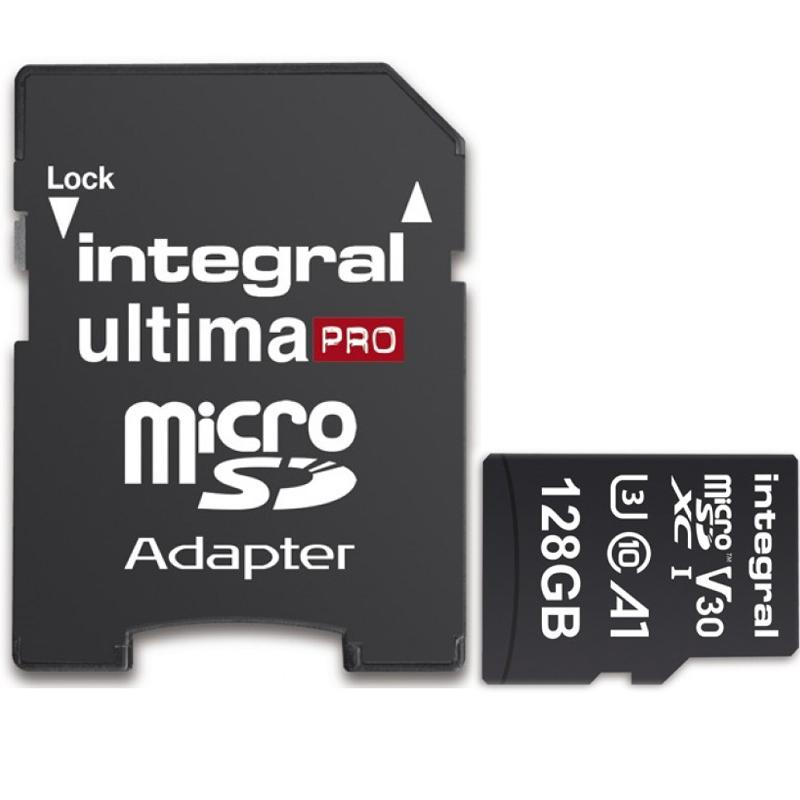 Integral 128GB UltimaPRO V30 Premium Micro SD Card (SDXC) UHS-I U3 + Adapter - 100MB/s