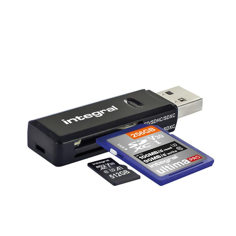 Integral USB 3.1 SD + Micro SD Card Reader - Black