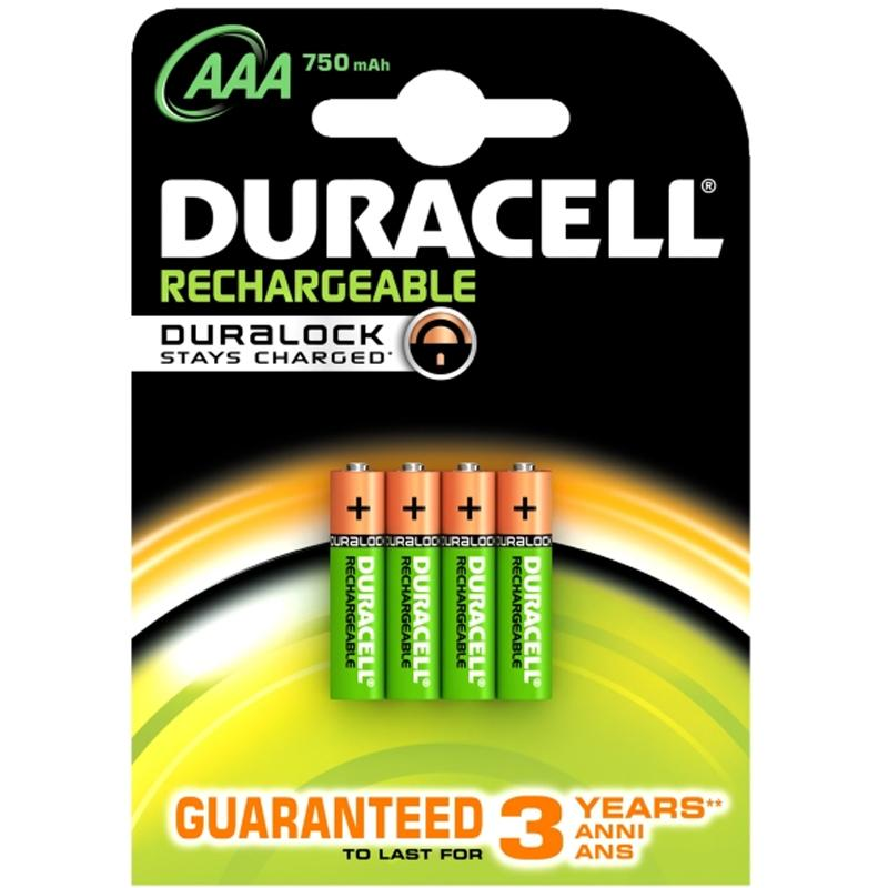 Duracell StayCharged 750mAh AAA Rechargeable Batteries - 4 Pack