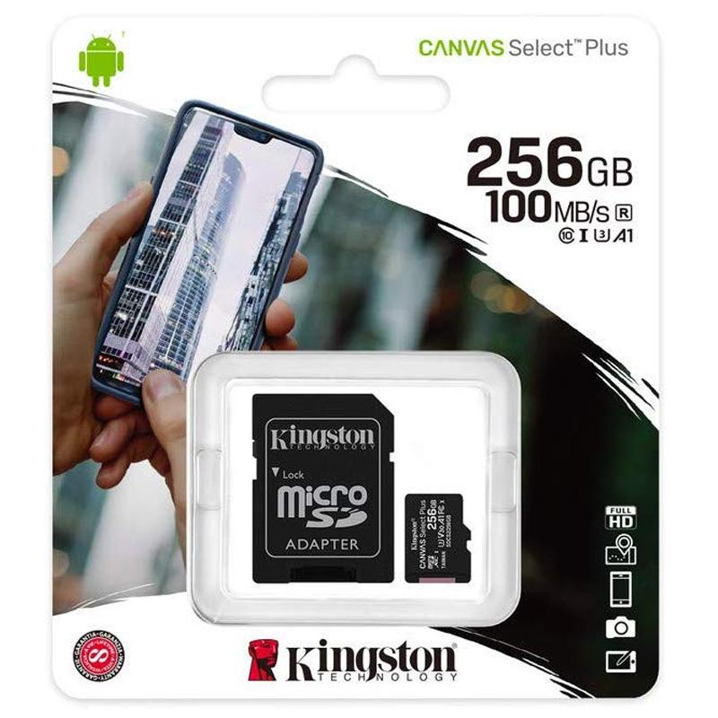 Kingston 256GB Canvas Select Plus micro SD Card (SDXC) + SD Adapter - 100MB/s