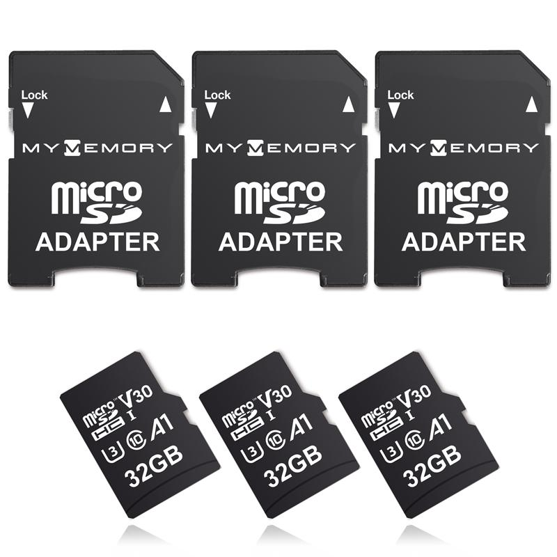 MyMemory 32GB V30 PRO Micro SD Card (SDHC) A1 UHS-1 U3 + Adapter - 100MB/s - 3 Pack