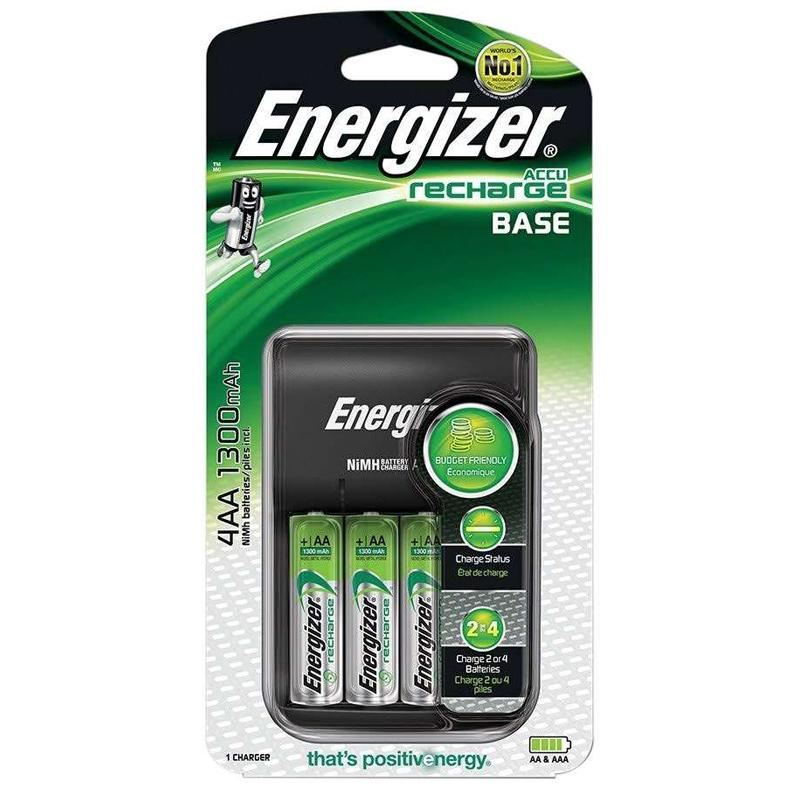 Energizer Accu Recharge Base Battery Charger + 4 AA 1300mAh Batteries