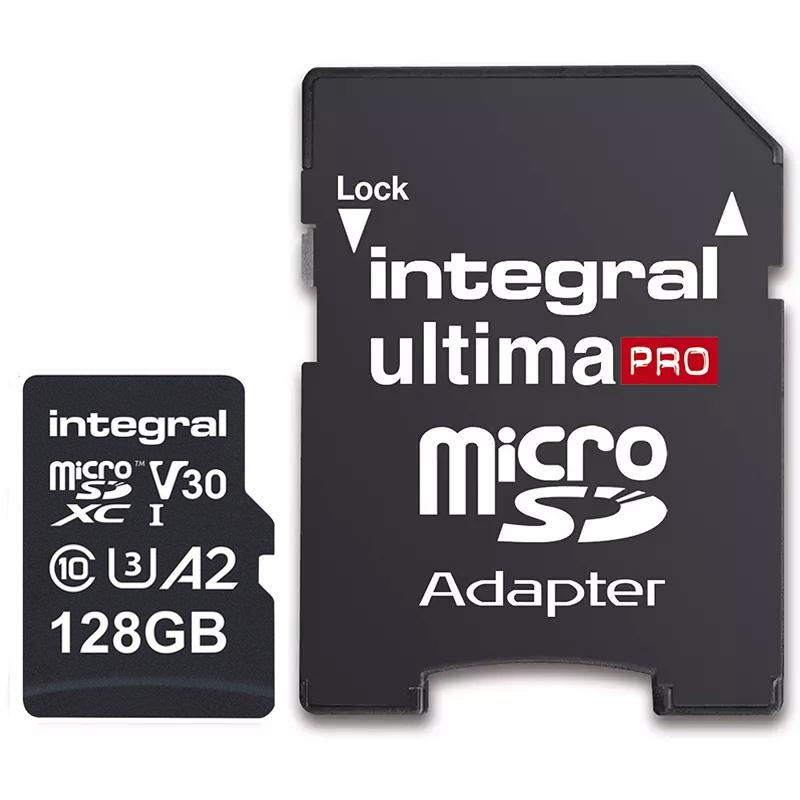Integral 128GB UltimaPRO A2 V30 High Speed Micro SD Card (SDXC) UHS-I U3 + Adapter - 180MB/s