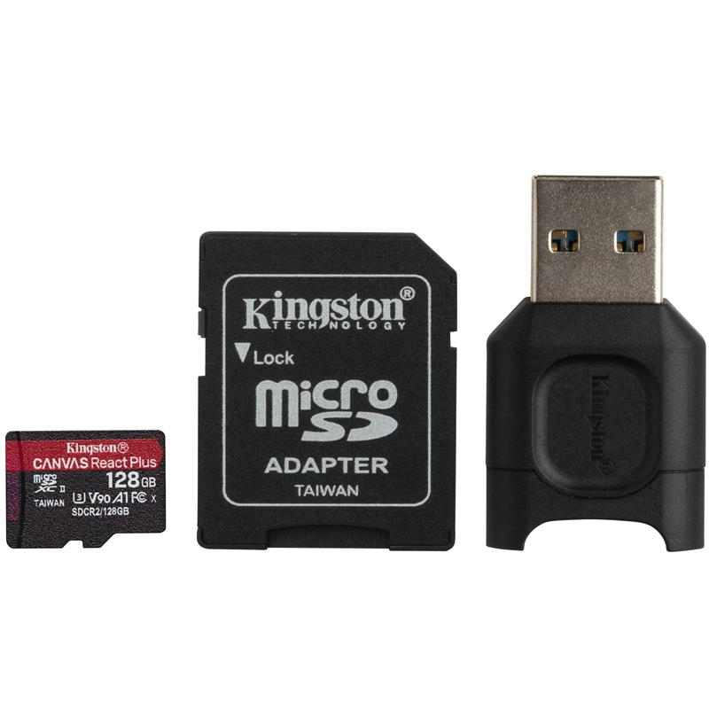 Kingston 128GB Canvas React Plus Micro SD Card (SDXC) UHS-II + Card Reader - 285MB/s