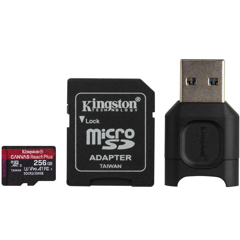 Kingston 256GB Canvas React Plus Micro SD Card (SDXC) UHS-II + Card Reader - 285MB/s