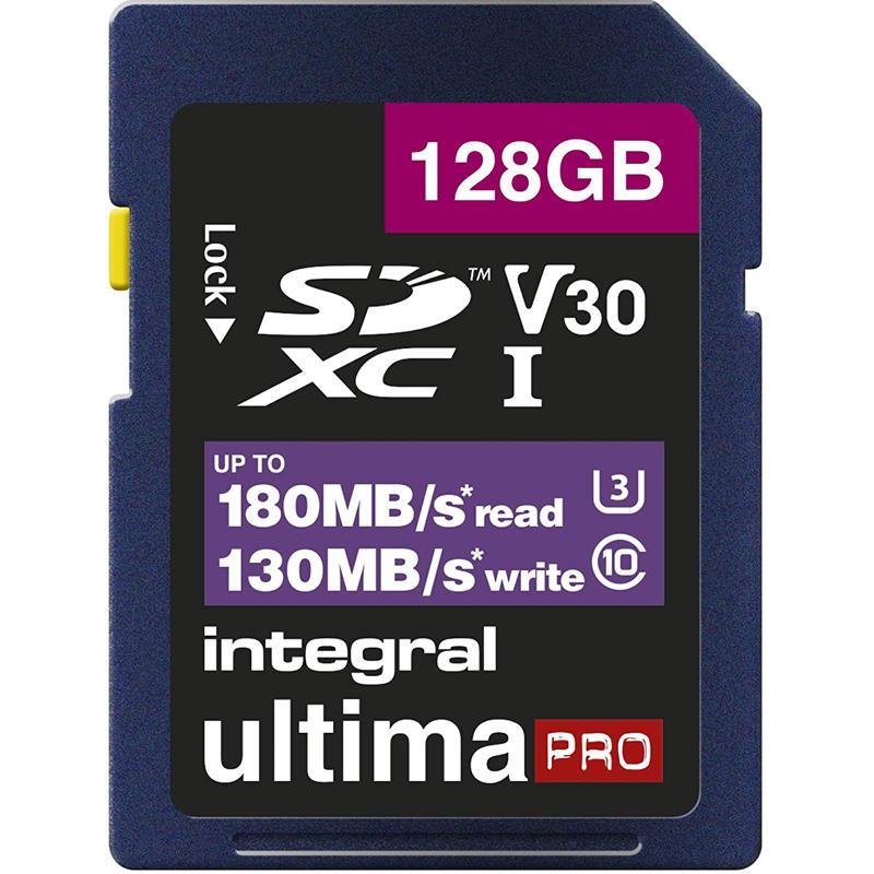 Integral 128GB UltimaPRO V30 4K/8K SD Card (SDXC) UHS-I U3 - 180MB/s