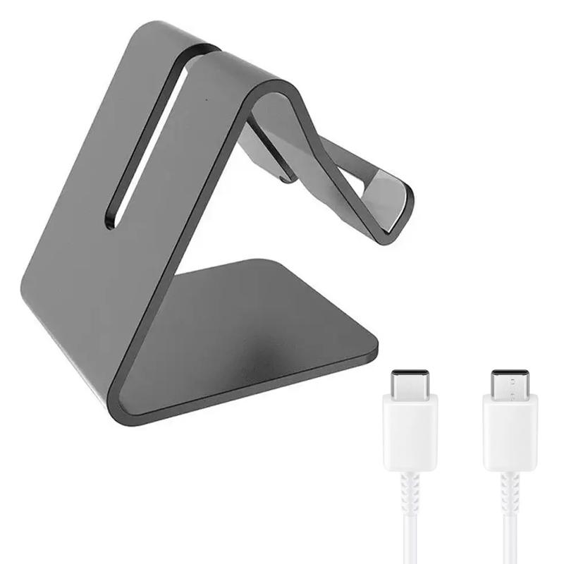 Desktop Mobile Phone Stand/Holder with Samsung USB-C to USB-C Cable 1.2M - White